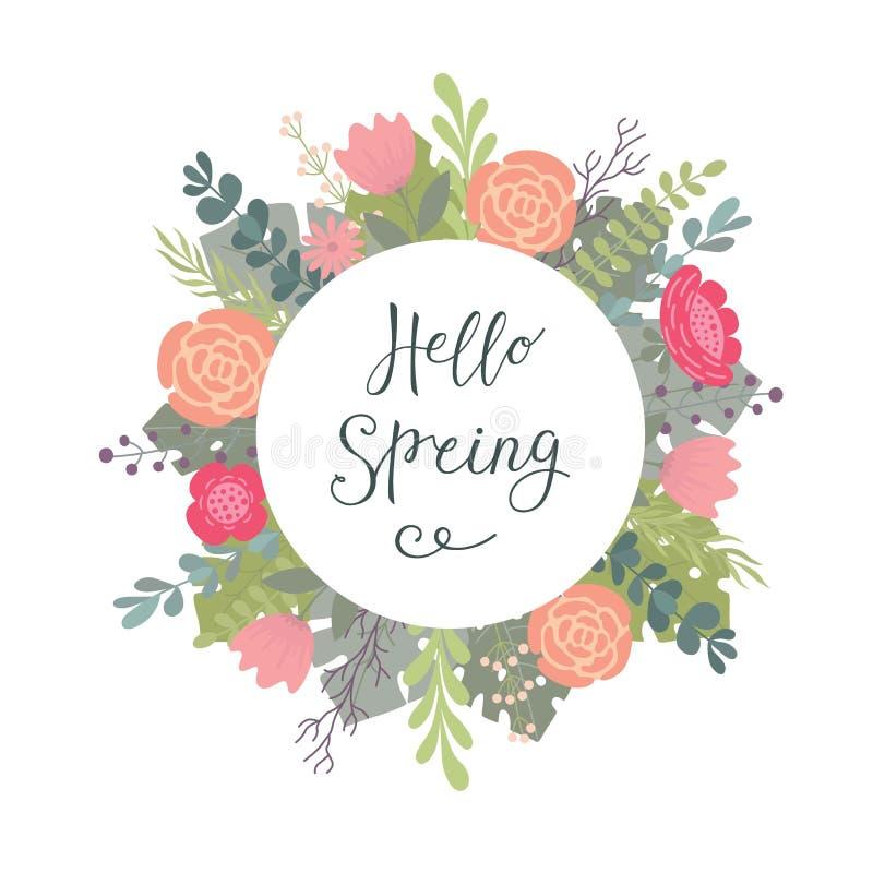 递在与词组你好春天和装饰花背景的印刷图画上写字 库存例证