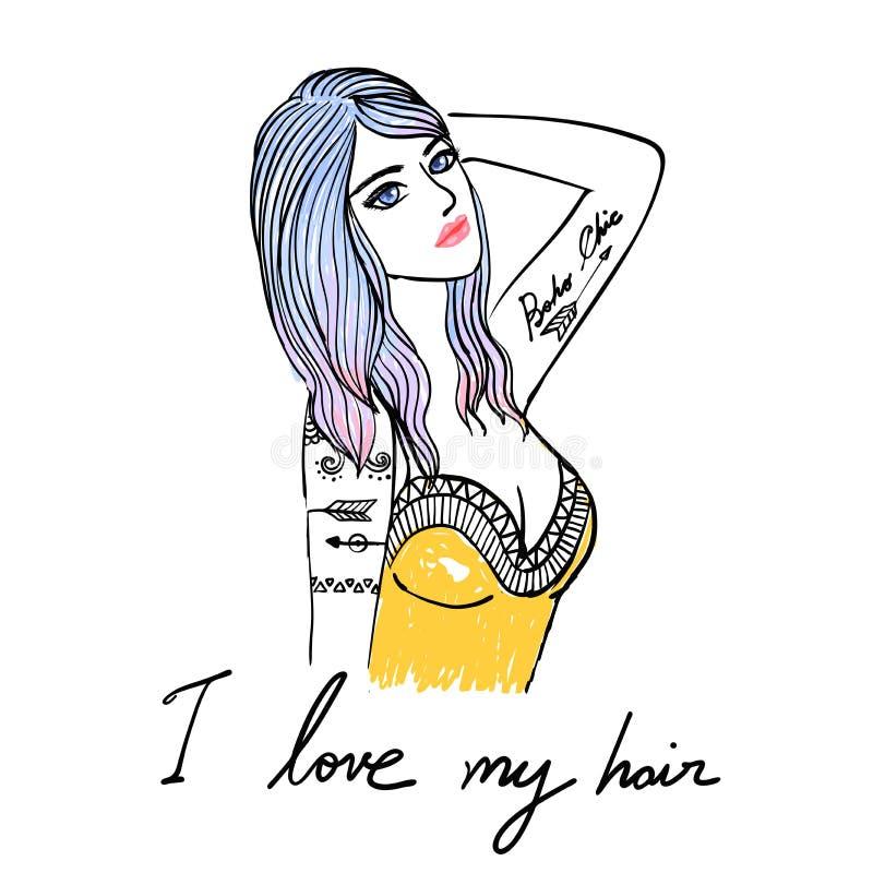 递女孩、性感的女孩、Boho女孩、Boho别致、年轻美丽的妇女有纹身花刺的T恤杉设计的,海报和元素fo图画  皇族释放例证