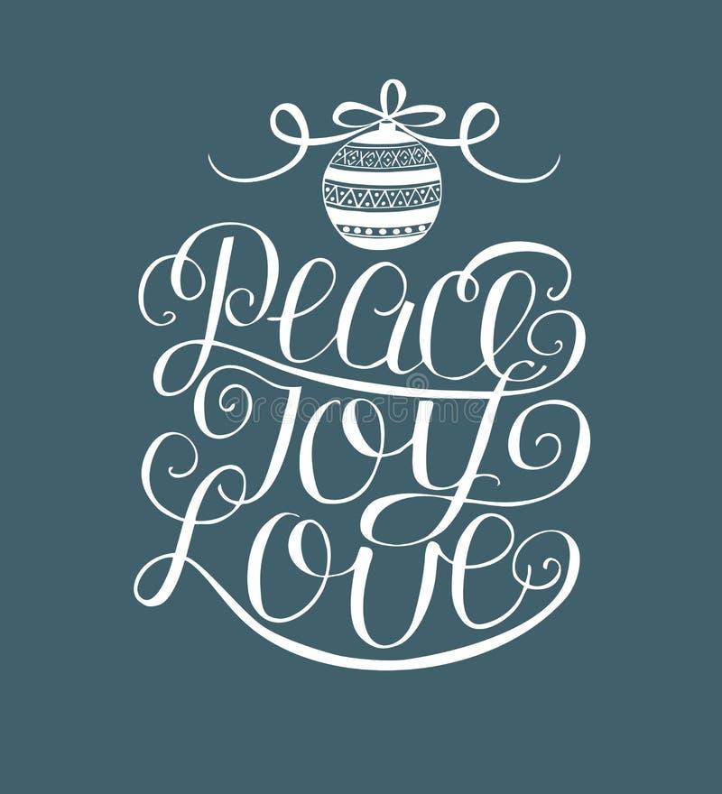 递字法和平,喜悦,与圣诞节装饰的爱 库存例证