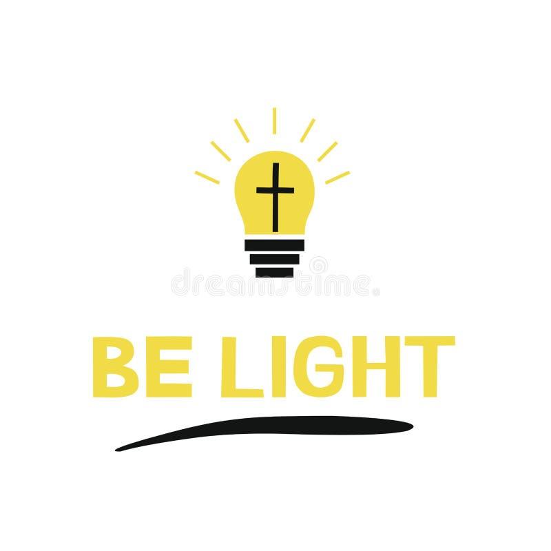 递字法在与十字架和光芒的电灯泡附近是轻的, 向量例证