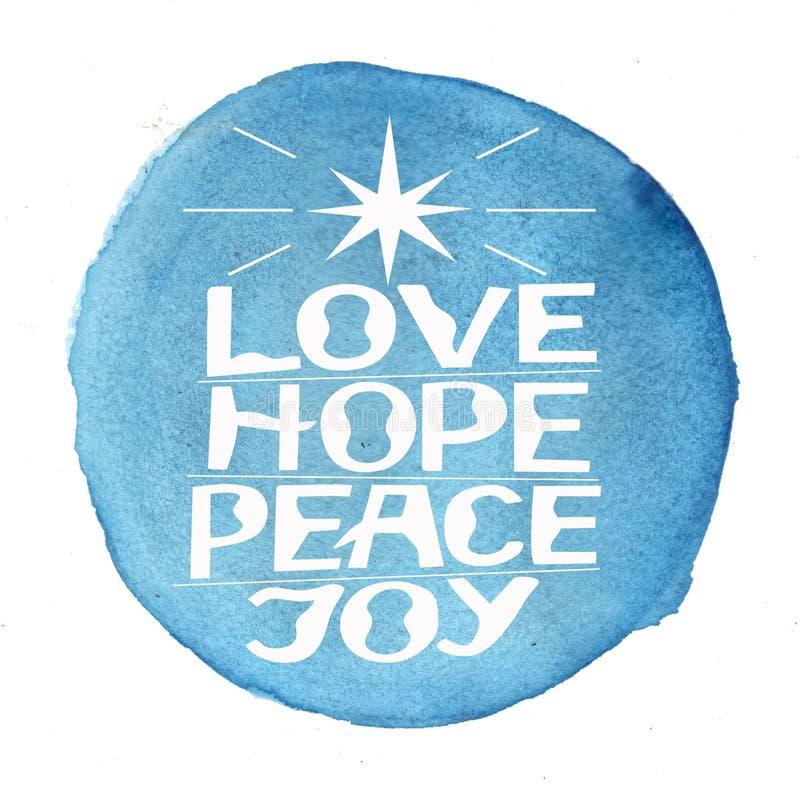 递字法爱,希望,和平,在蓝色水彩背景的喜悦 库存例证