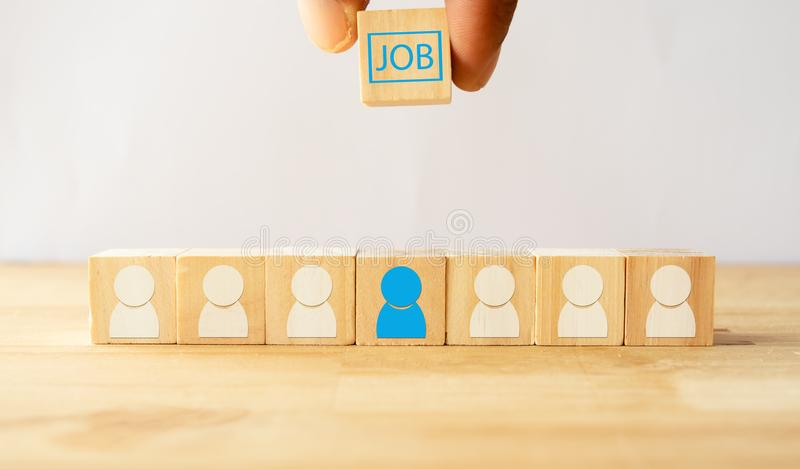 递尝试给工作,聘用或者机会在从公司, ceo,上司选择的正确的人或求职者,主席Th的 库存照片