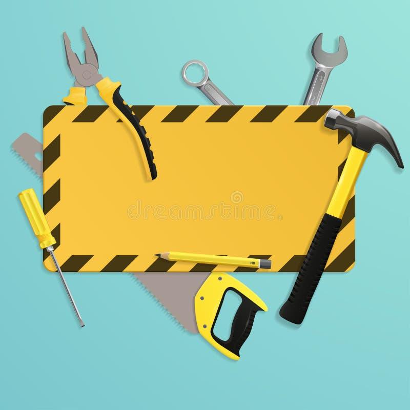 递工具和工业警报信号与地方您的文本的 背景木匠业在木头之下的板条工具 皇族释放例证