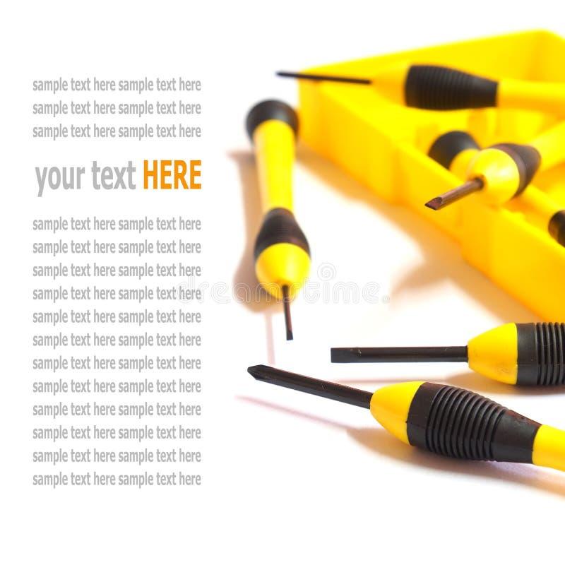 递工具,在白色隔绝的黄色螺丝刀集合 免版税库存图片