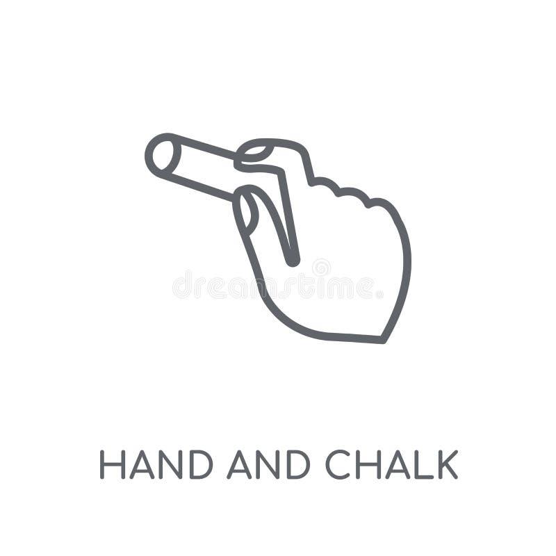 递并且用粉笔写线性象 现代概述手和白垩商标c 向量例证