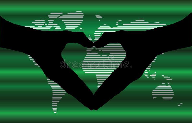 递心脏剪影和worldmap背景美丽的横幅w 向量例证