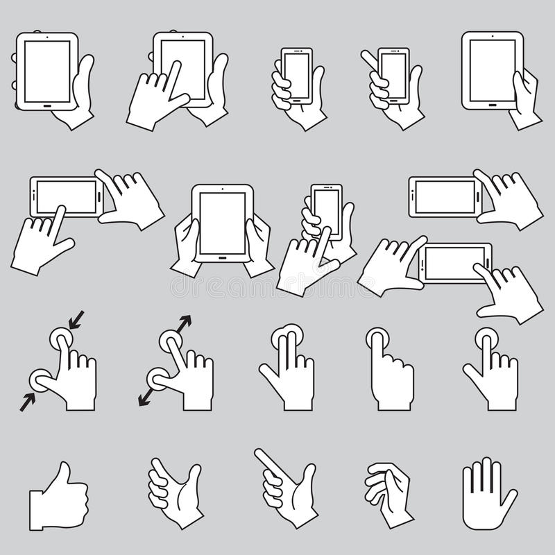 递感人的手机和数字式片剂,传染媒介EPS10 库存例证