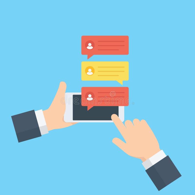递拿着一个手机,传送与网上闲谈的信息 平的闲谈起泡在手机屏幕上的通知 束起通信有概念的交谈媒体人社交 库存例证