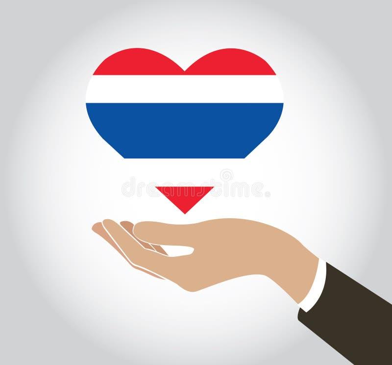 递拿着在心脏形状和背景的泰国旗子 向量例证