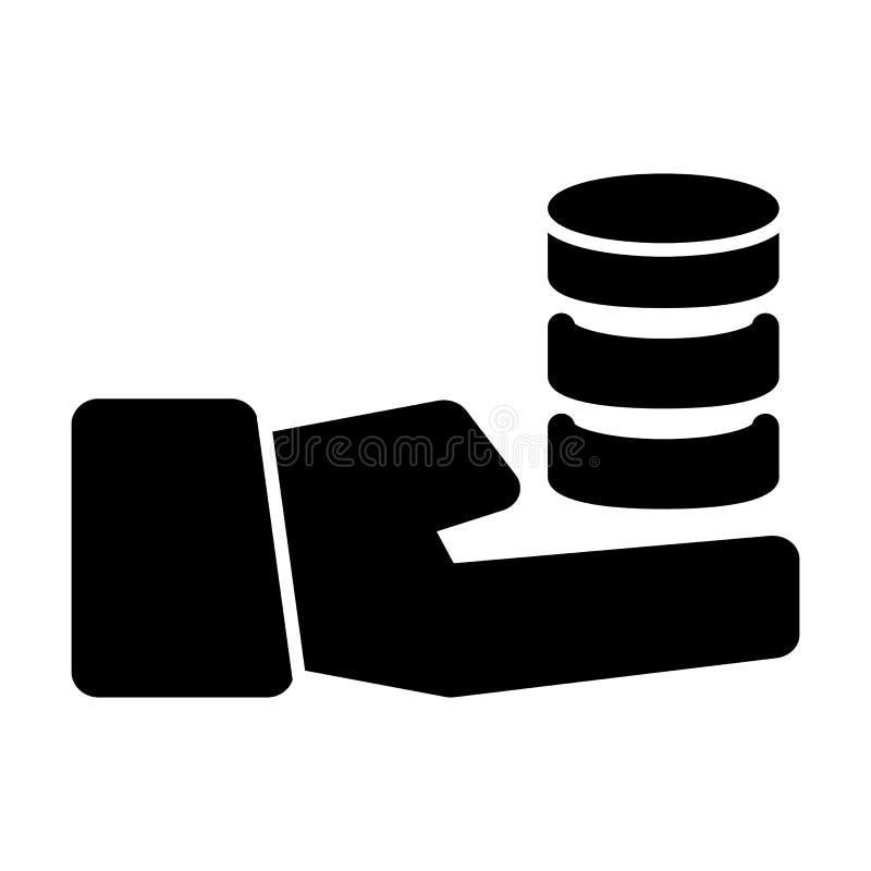 递拿着堆硬币传染媒介象 黑白硬币例证 坚实线性金钱象 向量例证