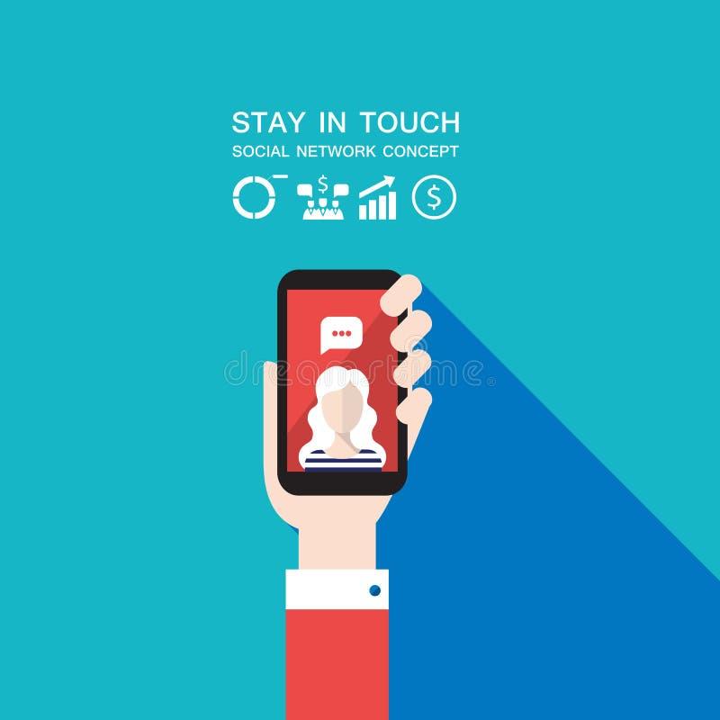 递拿着巧妙的电话社会网络和通信概念现代平的设计 向量例证