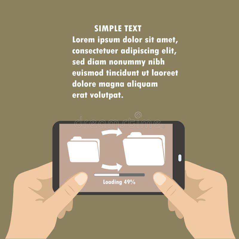 递拿着巧妙的电话,下载文件从文件夹到文件夹 向量例证