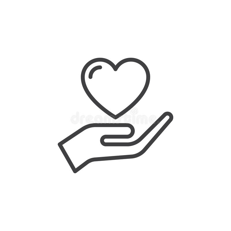 递拿着心脏,信任线象,概述传染媒介标志,在白色隔绝的线性样式图表 皇族释放例证
