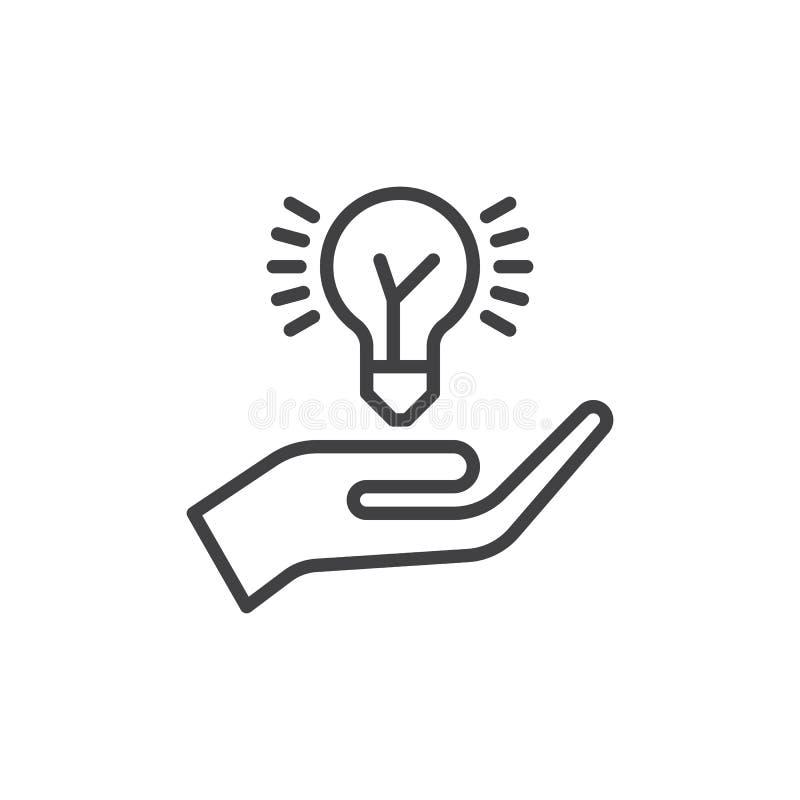 递拿着想法电灯泡线象,概述传染媒介标志,在白色隔绝的线性样式图表 分享标志,商标illustr的想法 库存例证