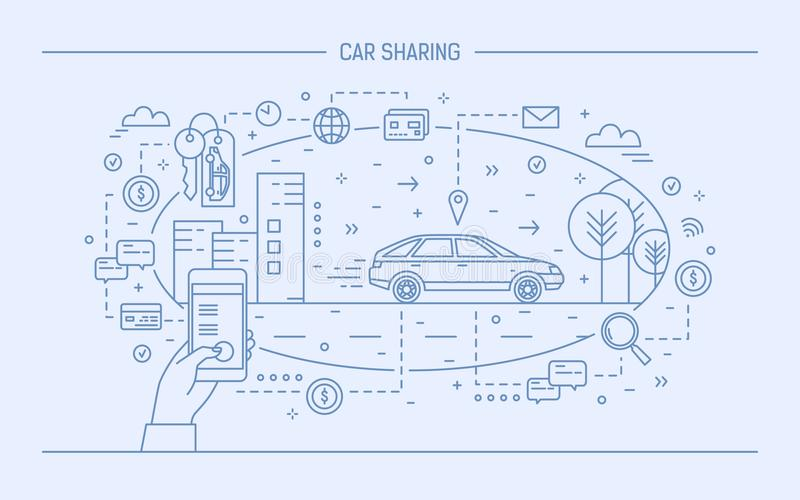 递拿着手机和汽车在城市街道上 汽车分享和电子出租服务的概念或者 库存例证