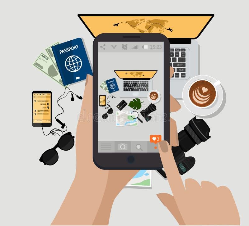 递拿着手机并且做照片 也corel凹道例证向量 计算机,照片照相机,咖啡杯,太阳镜,护照, e书,地图 向量例证