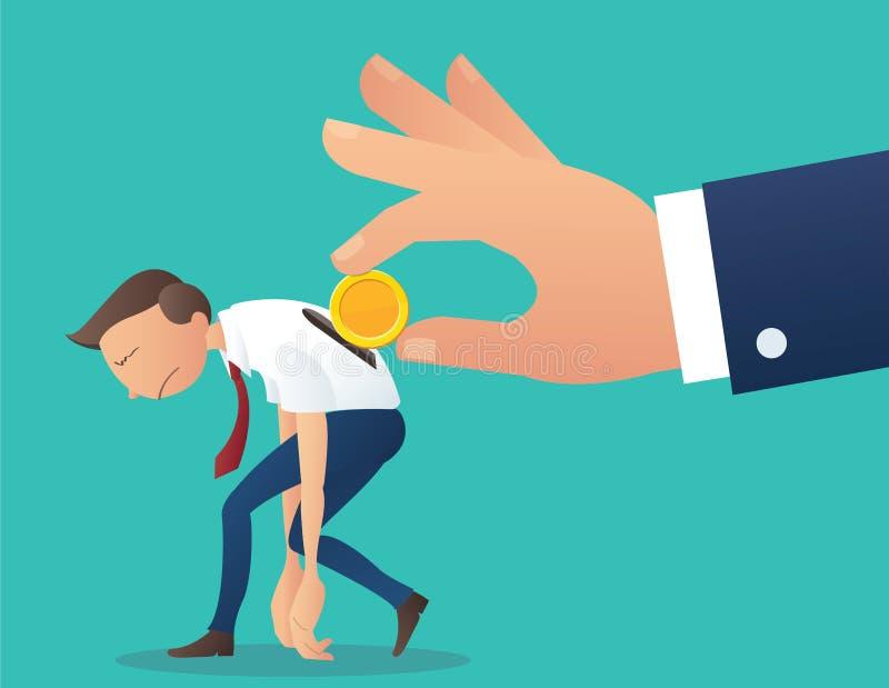 递拿着插入入商人后面,薪水薪金传染媒介例证的企业概念的硬币 向量例证