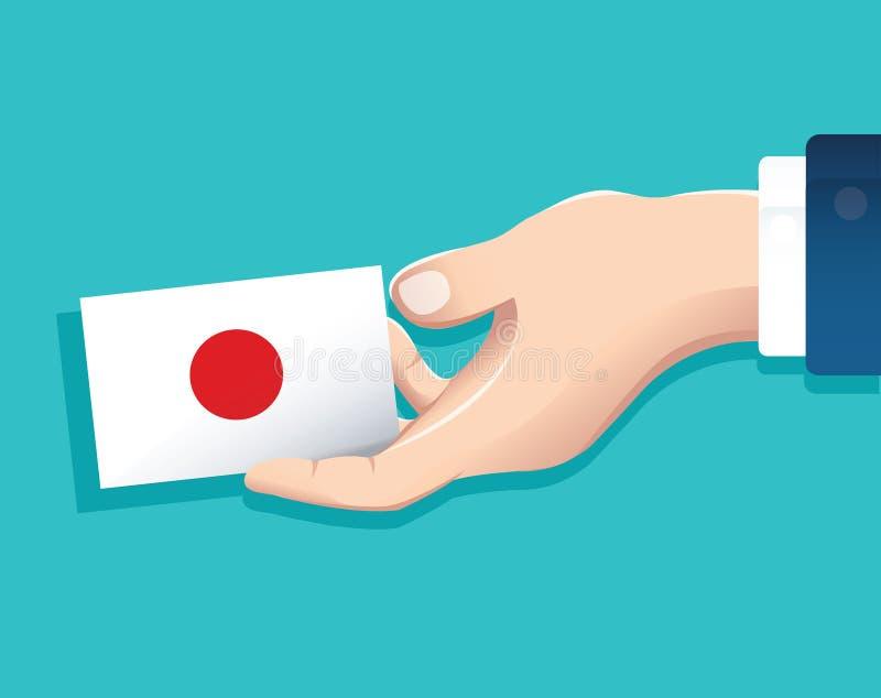 递拿着日本旗子卡片有蓝色背景 向量例证EPS10 库存例证