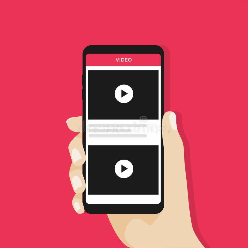 递拿着智能手机或手机有录影渠道的在屏幕上 向量例证
