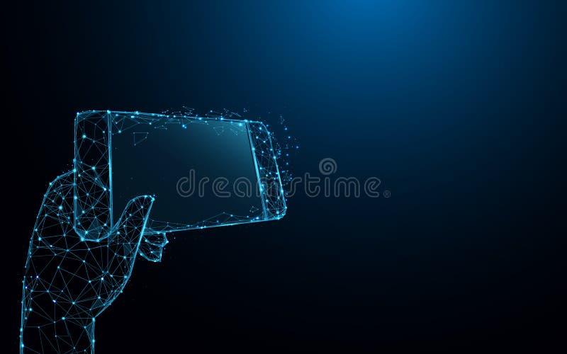 递拿着智能手机象形式线和三角,在蓝色背景的点连接的网络 向量例证