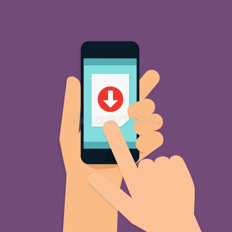 递拿着有下载的app流动巧妙的电话 现代的传染媒介 向量例证