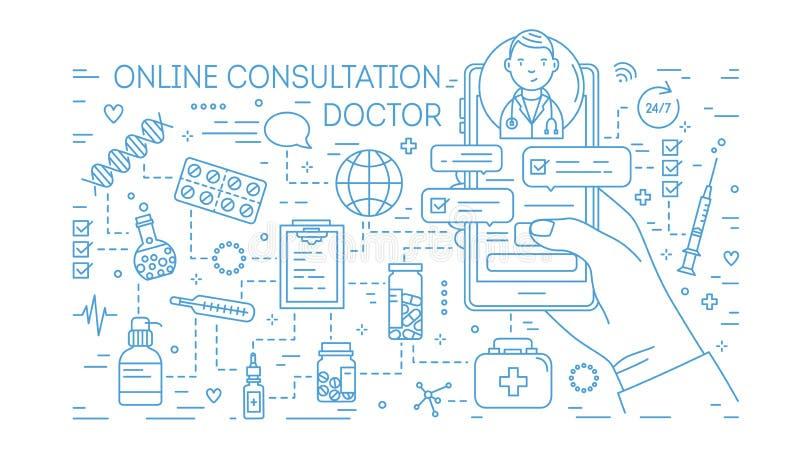 递拿着有互联网消息的手机从在屏幕上的医生画与在白色背景的蓝线 医疗 皇族释放例证