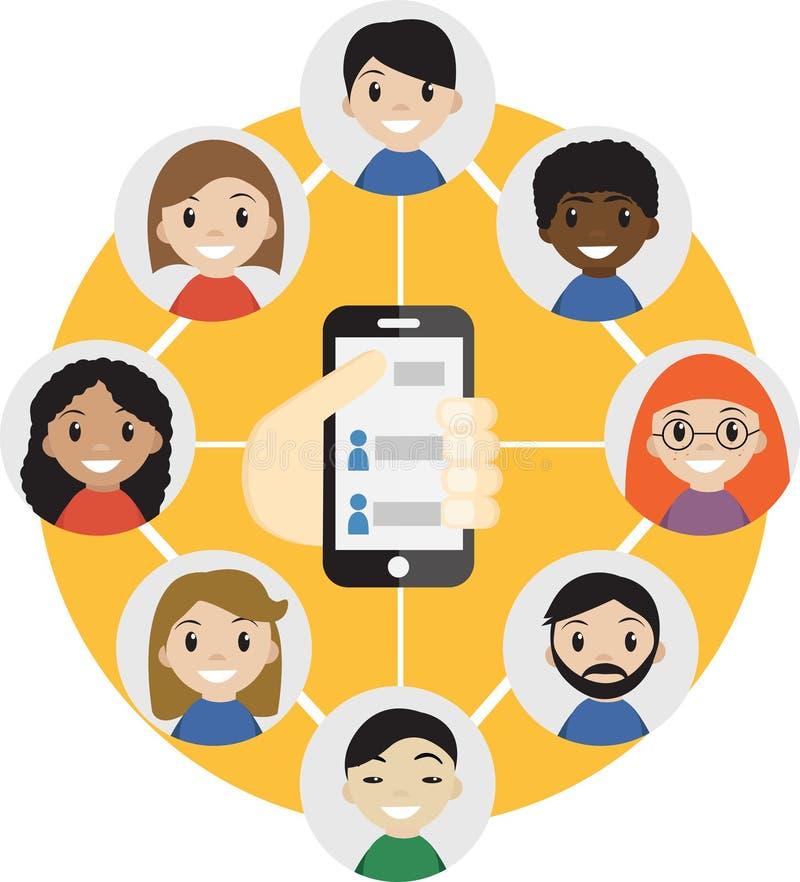 递拿着有人概念联络的一个手机  选择人 联络名单,电话本象 组 购买权 皇族释放例证