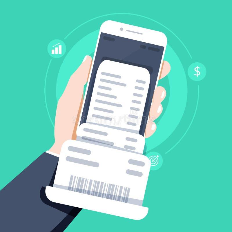 递拿着有发货票票据纸的,平的有发货票票据纸的样式手机智能手机 向量例证