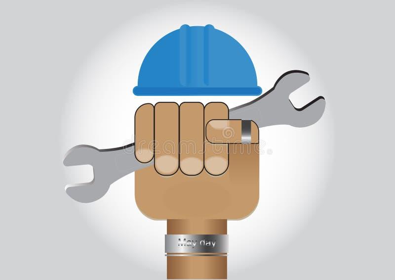 递拿着有安全帽的,劳动节传染媒介例证概念板钳 库存例证