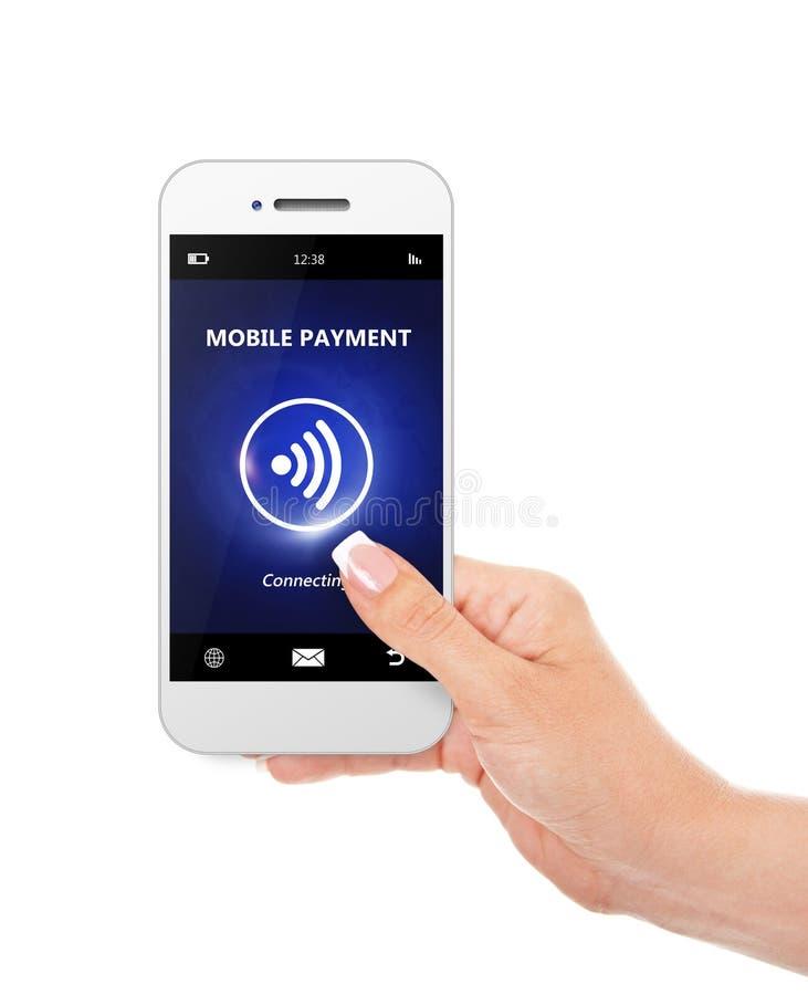 递拿着有流动付款的手机被隔绝在丝毫 库存图片