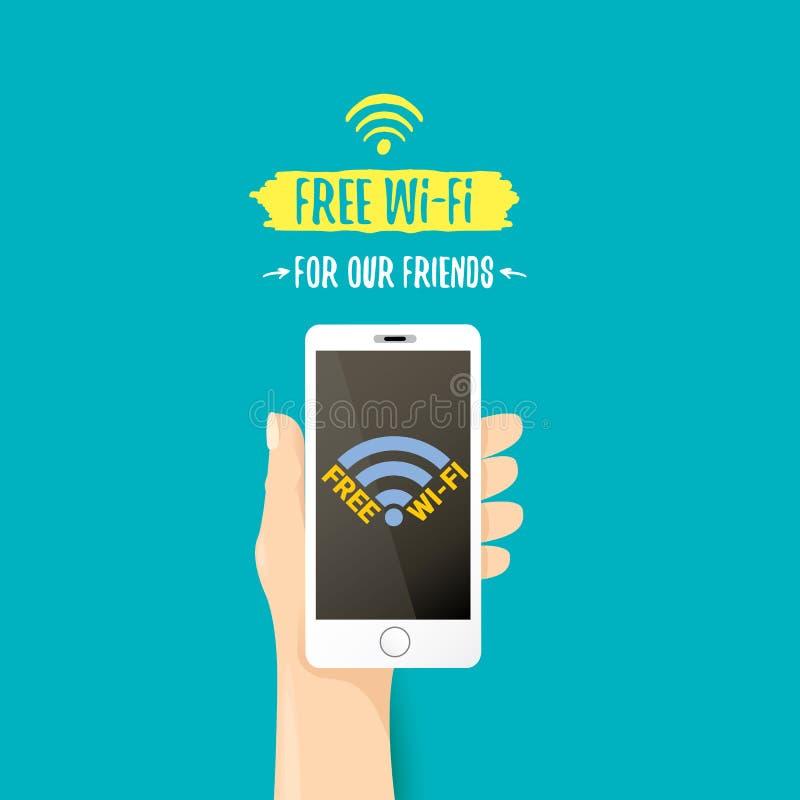递拿着有自由Wi-Fi标志的白色巧妙的电话在天蓝色的背景隔绝的触摸屏上 传染媒介平的样式 向量例证