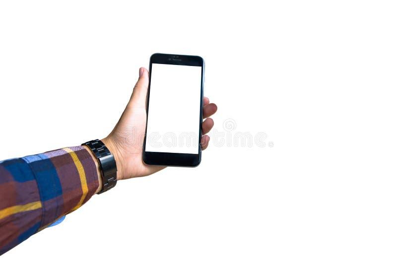 递拿着有行家衬衣的一个现代智能手机 免版税库存图片