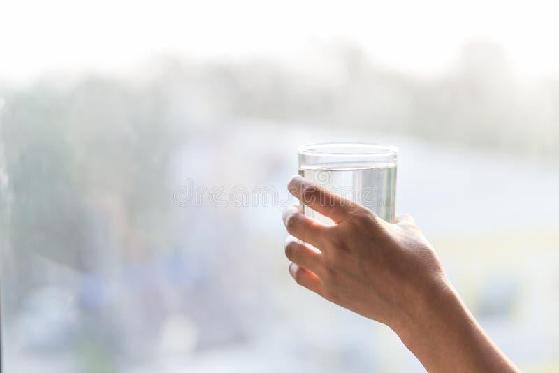 递拿着杯与迷离光的水在早晨backg 免版税库存照片