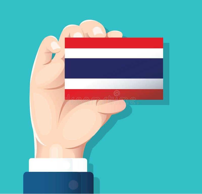 递拿着泰国旗子卡片有蓝色背景 向量例证EPS10 皇族释放例证