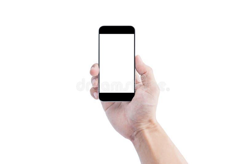 递拿着流动巧妙的电话,在白色背景隔绝的空白白色屏幕 裁减路线包括 免版税库存照片