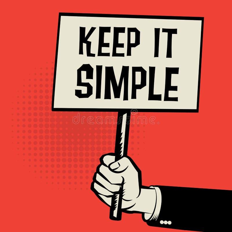 递拿着海报,与文本的企业概念保持它简单 皇族释放例证