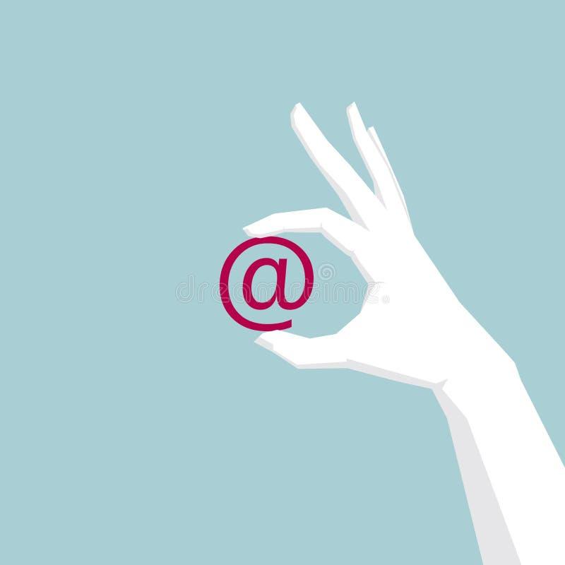 递拿着电子邮件,网络通信构思设计,手是白色的 库存例证