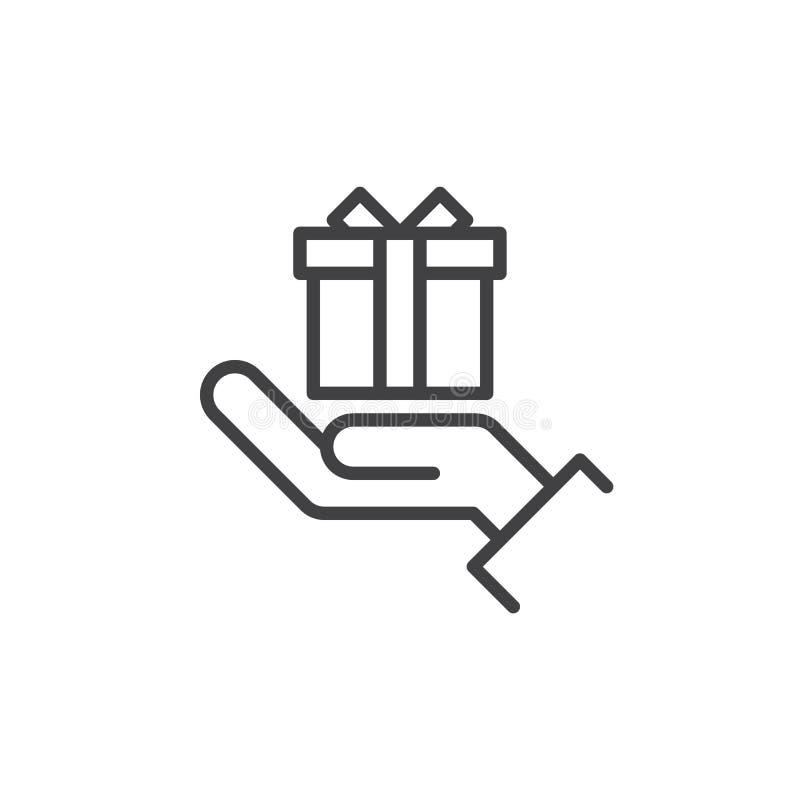递拿着礼物盒线象,概述传染媒介标志,在白色隔绝的线性样式图表 向量例证