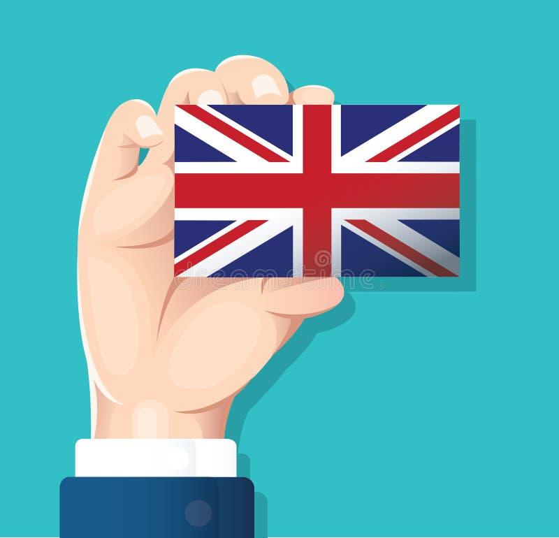 递拿着英国旗子卡片有蓝色背景 向量例证EPS10 向量例证