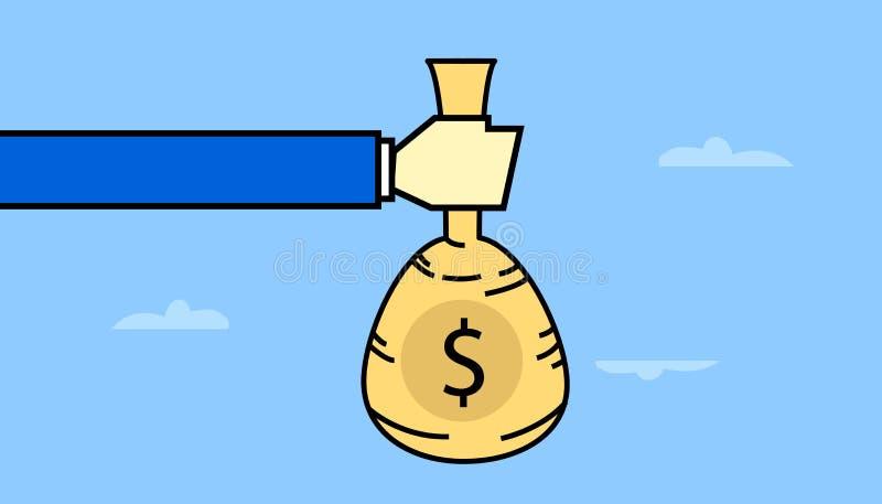 递拿着袋子与美元的符号的金钱与传染媒介线型艺术 皇族释放例证