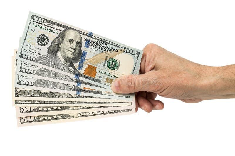 递拿着金钱美元,在白色背景 免版税库存照片