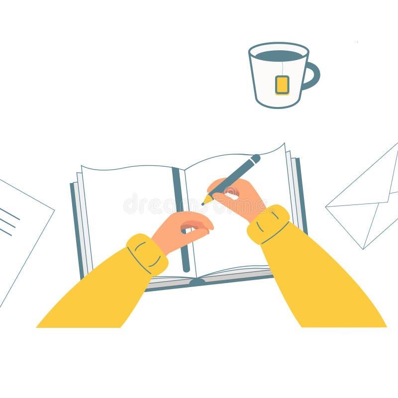 递拿着铅笔 人在笔记本,书写,画 茶 顶视图 向量例证