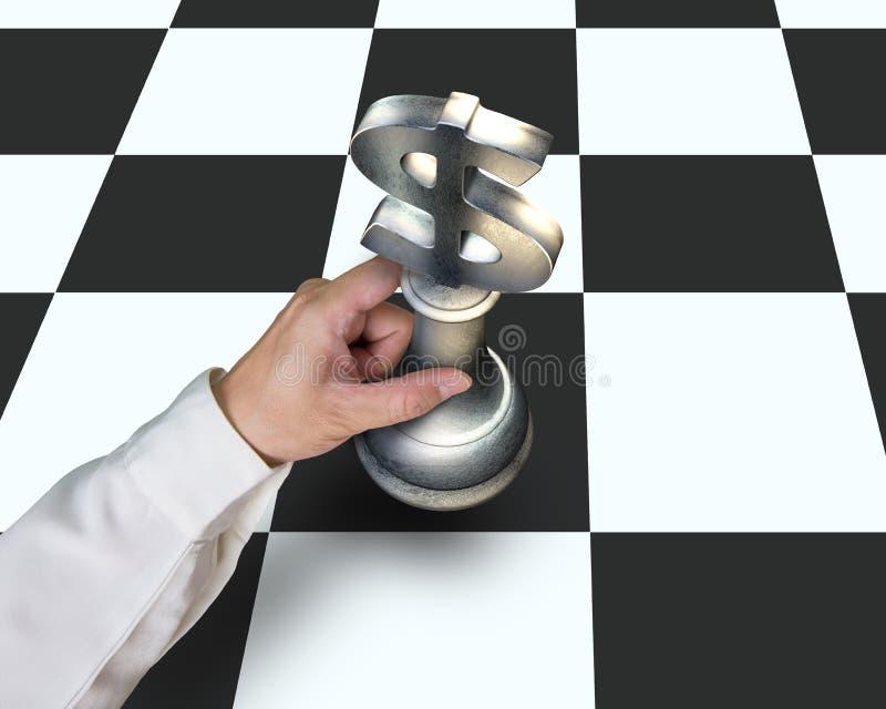 递拿着USD下在桌上的标志片断棋 免版税库存图片