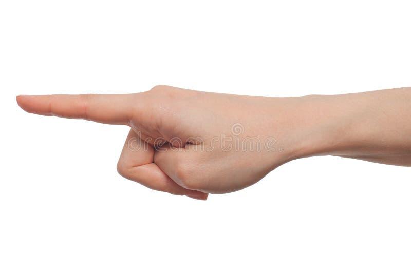 递指向在白色背景隔绝的一个手指 免版税库存图片