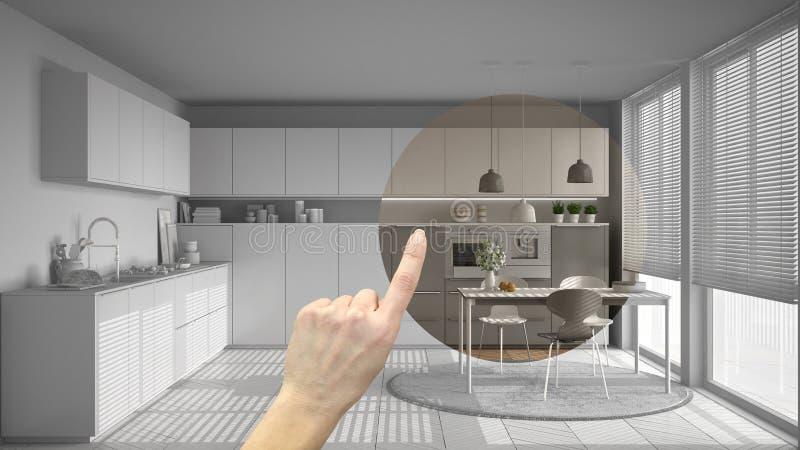 递指向室内设计项目,家庭项目细节,决定装备或改造概念的房间,现代厨房机智 库存照片