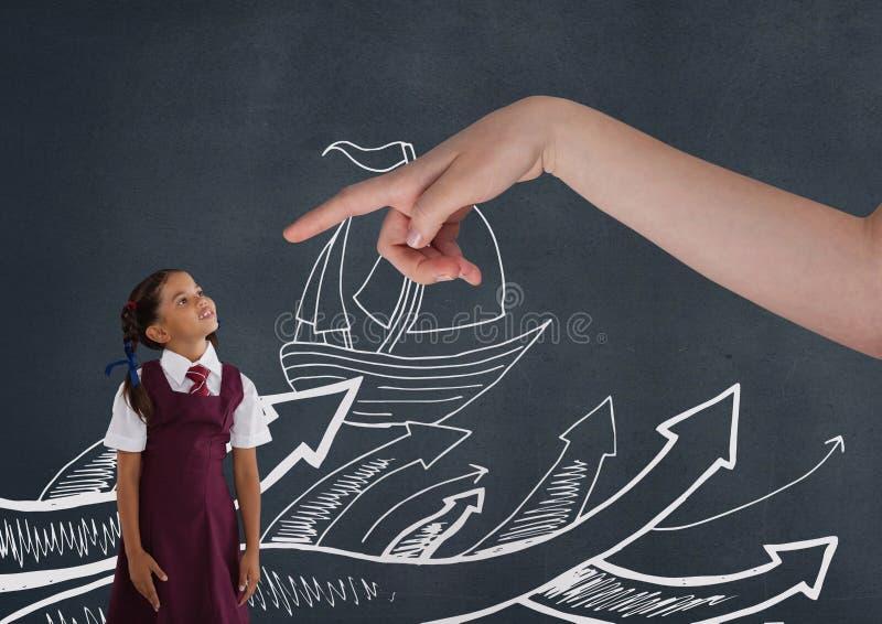 递指向查寻反对与小船例证的蓝色背景的女孩 库存例证