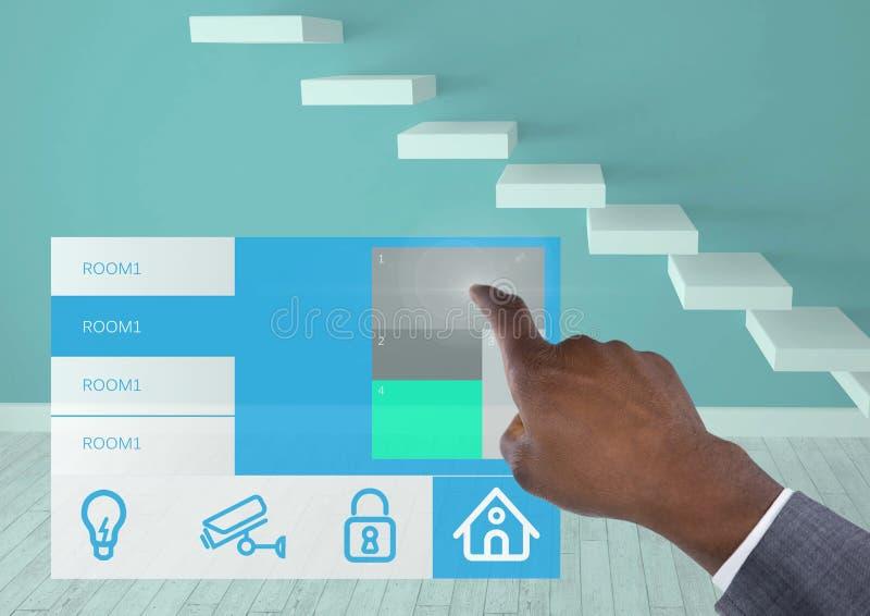 递接触一个家庭自动化系统App接口 皇族释放例证