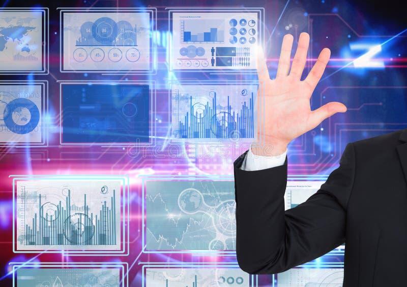 递接触和互动与技术接口盘区 免版税库存图片
