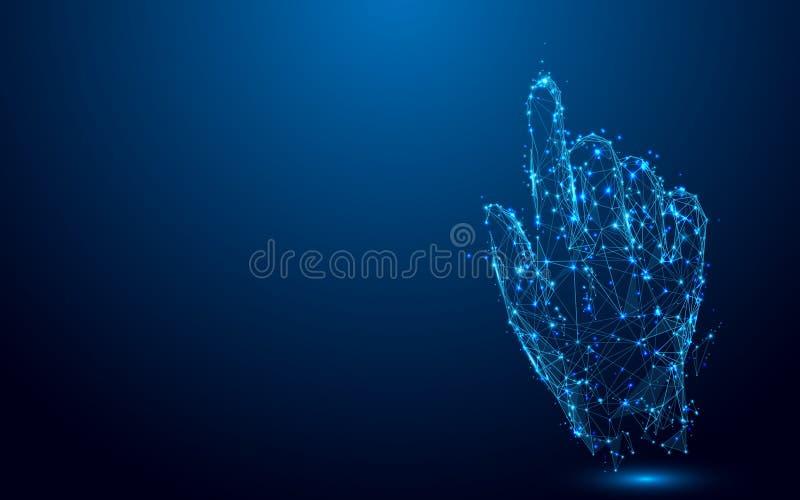 递接触某事从线和三角,在蓝色背景的点连接的网络 皇族释放例证