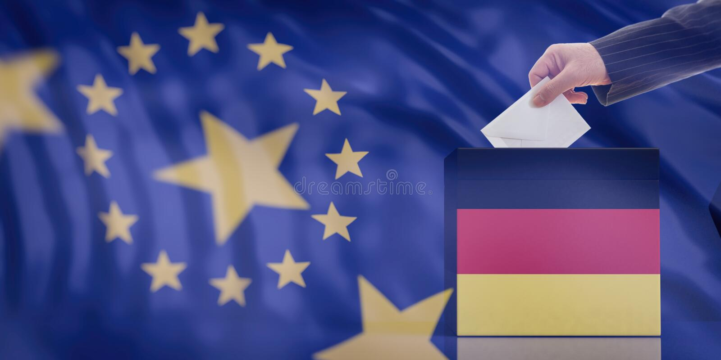 递插入信封在欧盟旗子背景的德国旗子投票箱 3d例证 免版税图库摄影